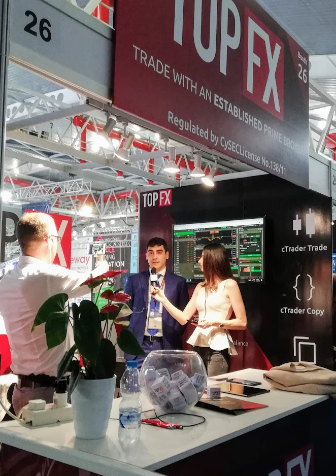 TopFX Global Head of Sales, Costantino Zenonos, being interviewed by Le Fonti TV at the iFX Expo
