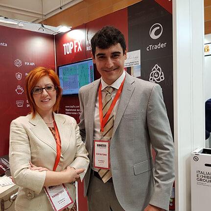 The Head of Global Sales, Constantino Zenonos and TopFX Partners.