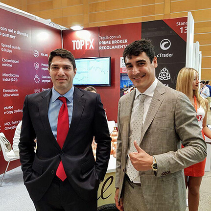 TopFX attends the 2019 IT Forum in Rimini: The CEO, Alex Katsaros and Head of Global Sales, Costantino Zenonos, at our booth.